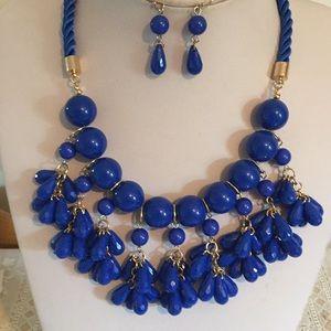 Royal blue bead dangle necklace earring set